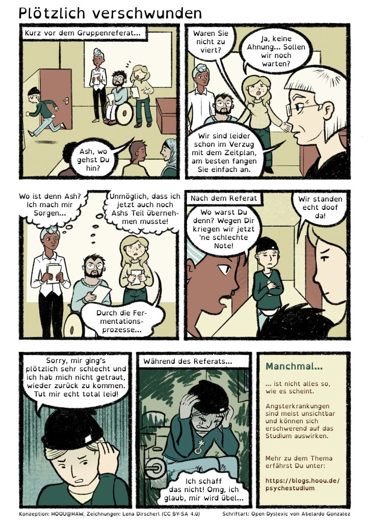 Visuelles Comic in Farbe über Herausforderungen im Studium. Ein Transkript des Comics für Screen Reader befindet sich unter dem visuellen Comic.